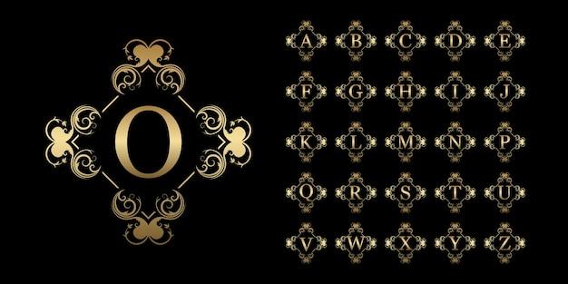Colección alfabeto inicial con plantilla de logotipo dorado de marco floral de adorno de lujo.