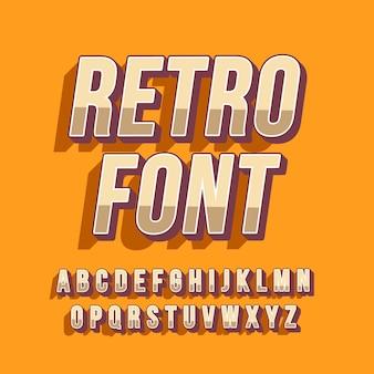 Colección de alfabeto retro 3d
