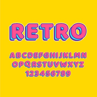 Colección de alfabeto de la a a la z en tema retro 3d