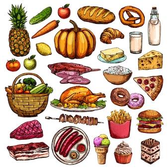 Colección de alimentos dibujados a mano