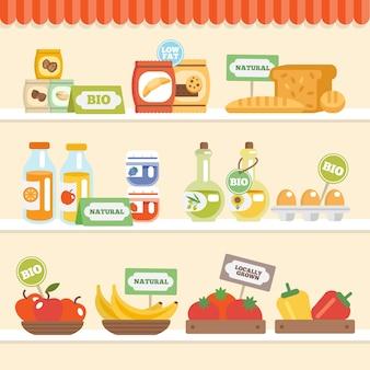 Colección de alimentos en el estante