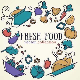 Colección de alimentos frescos y vegetales en estilo doodle