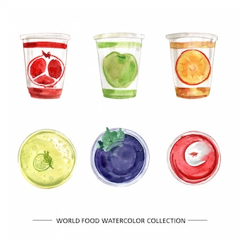 Colección de alimentos con ilustración acuarela
