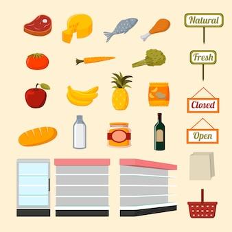 Colección de alimentos de supermercado.