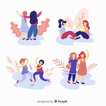 Colección de amigos pasando tiempo juntos