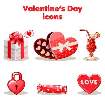 Colección de amor rojo icono de san valentín