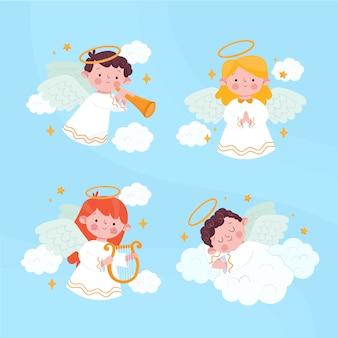Colección de ángel de navidad dibujada a mano