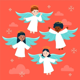 Colección angel navideña dibujada a mano