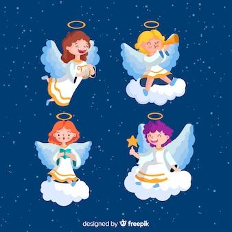 Colección ángel navideño en diseño plano