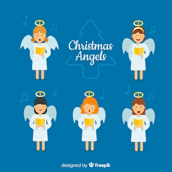 Colección de ángeles adorables de navidad cantando en diseño plano