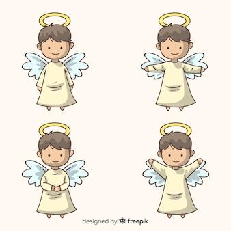Colección de ángeles adorables de navidad dibujados a mano