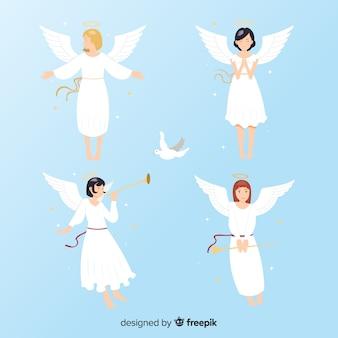 Colección ángeles anime navidad flat