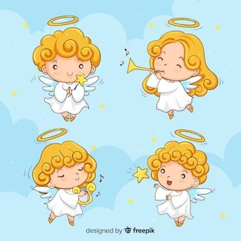 Colección de ángeles de navidad adorables dibujados a mano