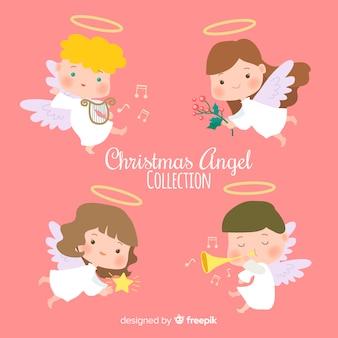 Colección de ángeles de navidad adorables en diseño plano
