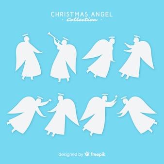 Colección de ángeles de navidad en estilo flat