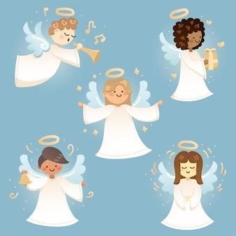 Colección de angelitos navideños dibujados a mano