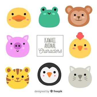 Colección animales adorables dibujados a mano