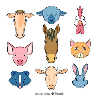 Colección de animales adorables de granja dibujado a mano