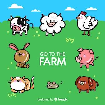 Colección de animales adorables de granja en diseño plano