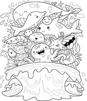 Colección de animales bajo el agua en estilo doodle.