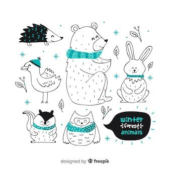 Colección animales amistosos dibujados a mano