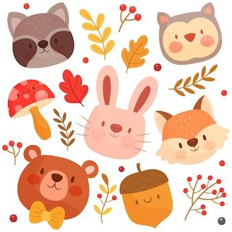 Colección de animales del bosque dibujado a mano