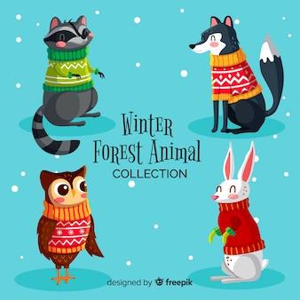 Colección animales del bosque invernales dibujados a mano