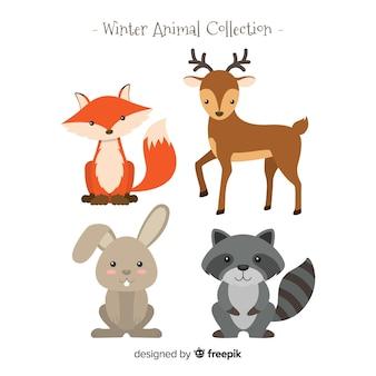 Colección animales de bosque de invierno
