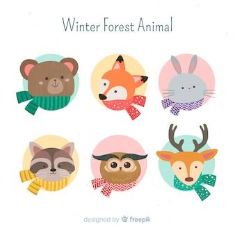 Colección de animales de bosque de invierno