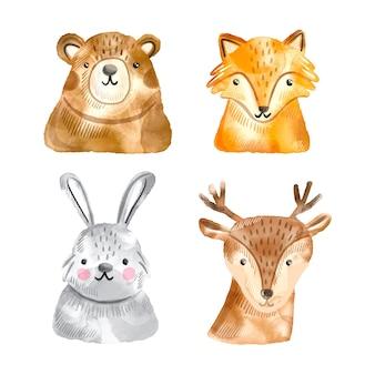 Colección de animales de bosque otoñal acuarela