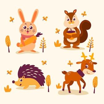 Colección de animales del bosque otoñal dibujados a mano