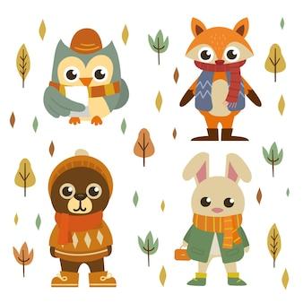 Colección animales del bosque otoñal dibujados a mano