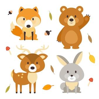 Colección de animales de bosque otoñal de diseño plano