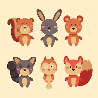 Colección de animales del bosque otoñal