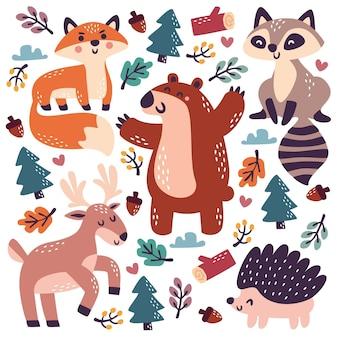Colección de animales del bosque otoño dibujado a mano