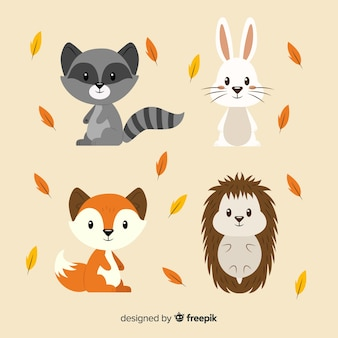 Colección de animales de bosque de otoño en diseño plano