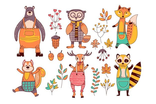 Colección de animales del bosque de otoño