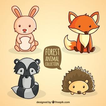 Colección de animales del bosque sentados dibujados a mano