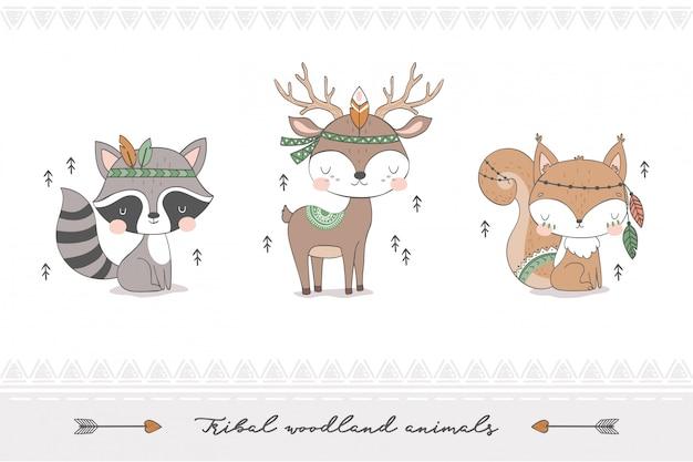 Colección de animales del bosque tribal.