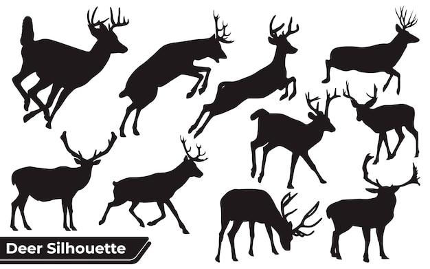 Colección de animales ciervos en diferentes posiciones.