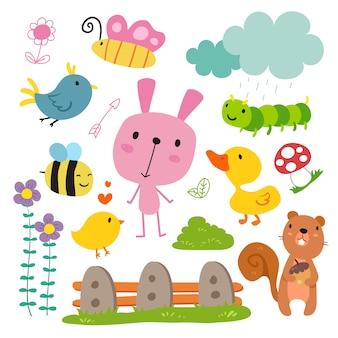 Colección de animales dibujadas a mano