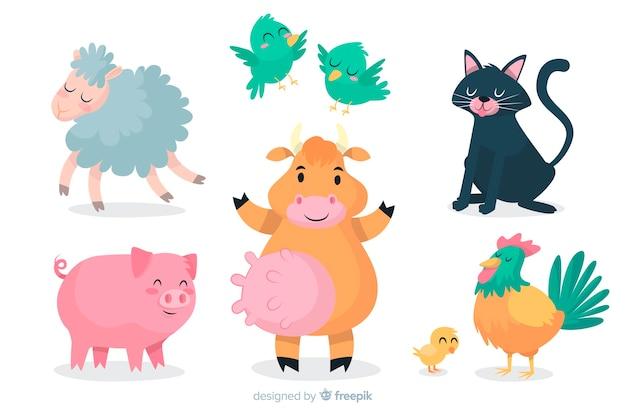 Colección de animales de dibujos animados diseño artístico