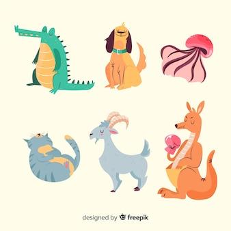 Colección de animales de dibujos animados lindo