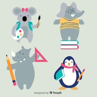 Colección de animales de dibujos animados de regreso a la escuela