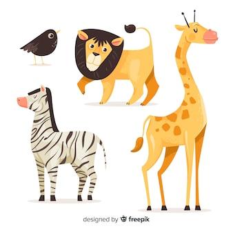 Colección de animales de dibujos animados sobre fondo blanco