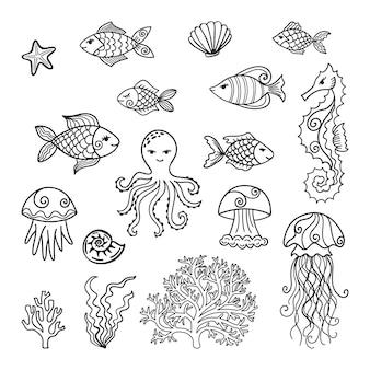 Colección de animales de dibujos animados submarinos dibujados a mano