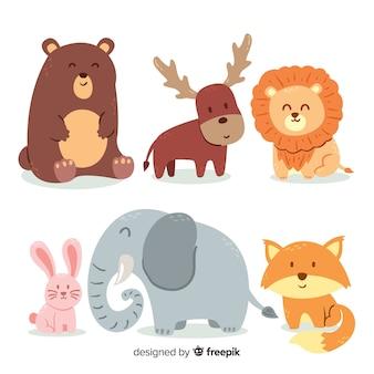 Colección de animales en diseño infantil.
