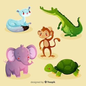 Colección de animales divertidos dibujos animados