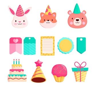 Colección de animales y elementos de scrapbook de cumpleaños lindo
