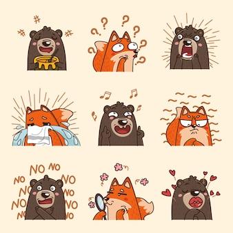 Colección de animales de emoji de emoción de dibujos animados